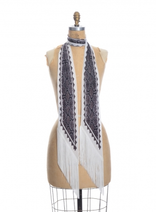 CLASSIC SKINNY FRINGED SCARF in Ivory Snakeskin by Rockins