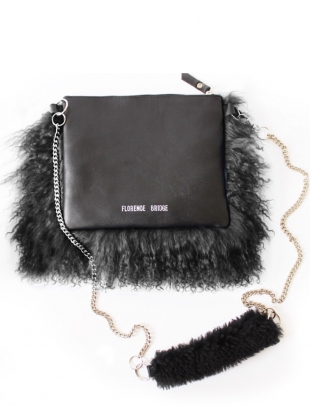Young British Designers: Bianca Fluffy Crossbody Bag in Black - sold out by Florence Bridge