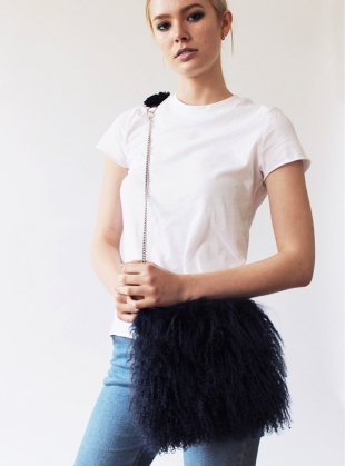Bianca Fluffy Crossbody Bag in Black - sold out by Florence Bridge