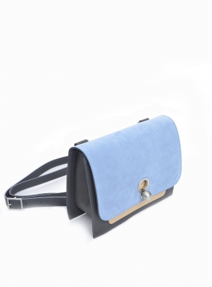 Young British Designers: EDDIE Box Bag in Blue/Grey/Nude by Danielle Foster