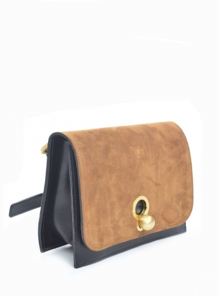 CHARLIE Box in Black with Tan Suede by Danielle Foster