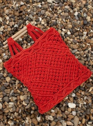 MACRAME BAG IN VERMILLION RED by LF Markey