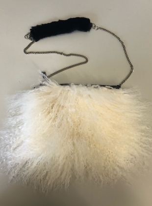 Young British Designers: Bianca Fluffy Crossbody Bag in Cream - last one by Florence Bridge