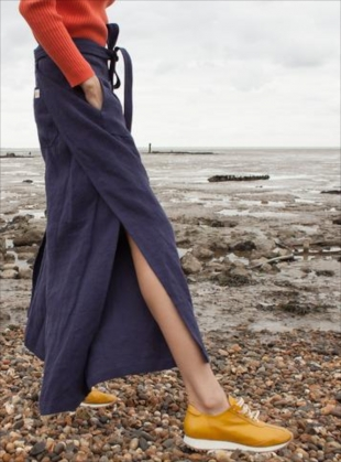 Young British Designers: LINEN WRAP PANTS IN NAVY - Sold out by LF Markey