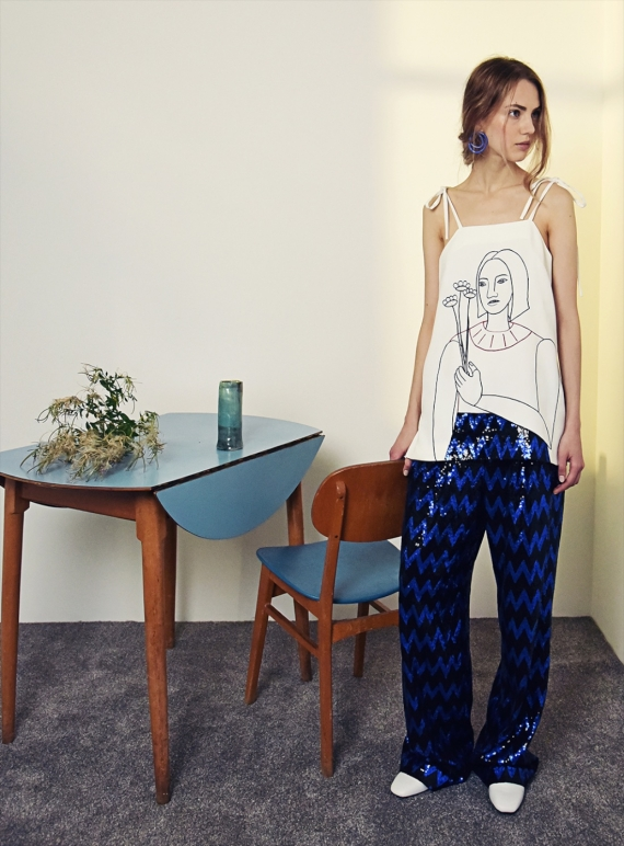 Young British Designers: SPARKLE TROUSERS IN BLACK AND BLUE - last pair by Moon Lee Artwear
