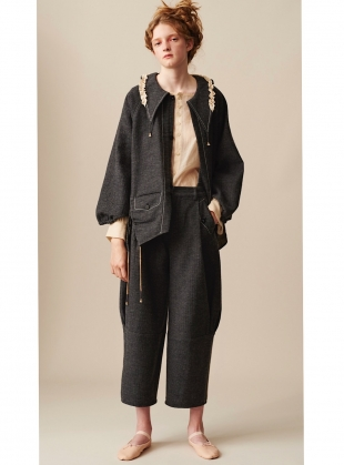 Young British Designers: ARTISAN CURVED LEG TROUSERS with DETACHABLE SUSPENDERS by Renli Su