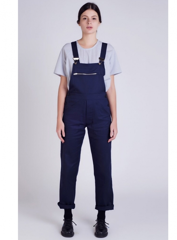 Young British Designers: Navy Cotton DUNGAREES  by Kate Sheridan