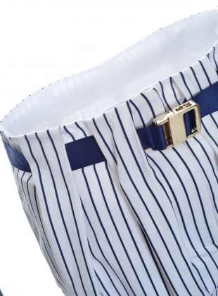 Young British Designers: Box Pleat Trousers in Navy Stripe Fade by Steven Tai