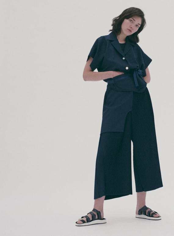 Young British Designers: Navy Sailor Pleat Jumpsuit by Steven Tai