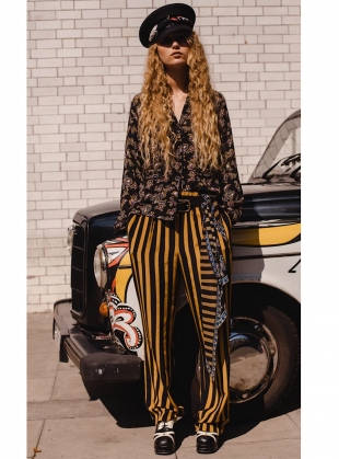 Young British Designers: Silk BLACK AND GOLD STRIPED TROUSER - last pair (S) by Rockins