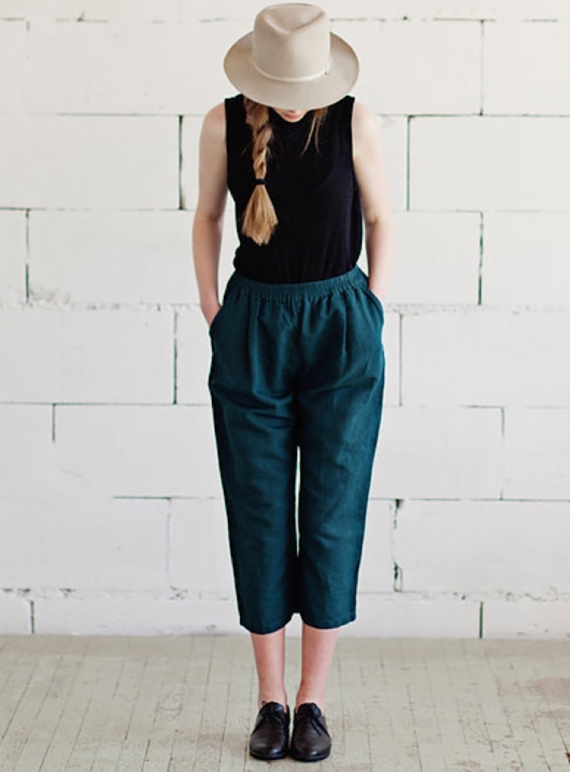 Young British Designers: Soft Linen Crop Trousers in Teal Green - Last Pair (M/L) by Lemuel MC