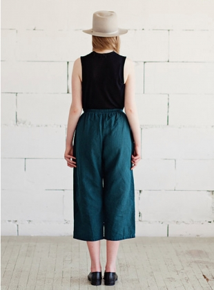 Young British Designers: Soft Linen Crop Trousers in Teal Green by Lemuel MC