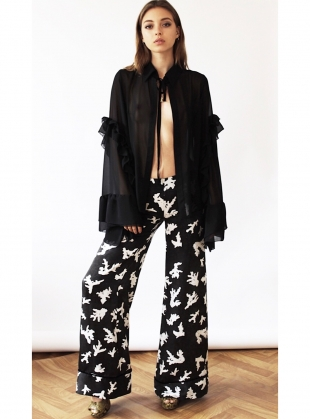 Young British Designers: HOLLY SILK TROUSERS - Sold out by Florence Bridge