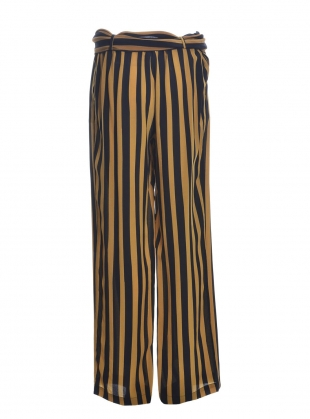 Silk BLACK AND GOLD STRIPED TROUSER  by Rockins