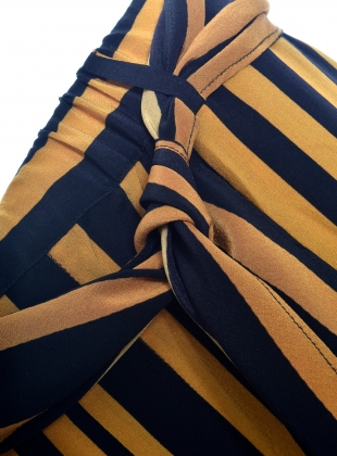 Young British Designers: Silk BLACK AND GOLD STRIPED TROUSER  by Rockins