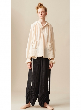 BLACK LINEN & MULBERRY SILK TROUSERS - Last pair by Renli Su