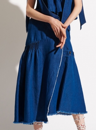 LINEN & COTTON DENIM ASYMMETRIC SKIRT - Last one by Teija Eilola