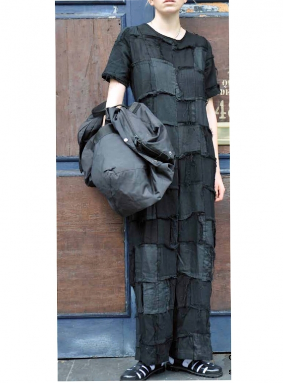 Young British Designers: JUMPSUIT IN PATCH BLACK LINEN  by Caplan Entwisle