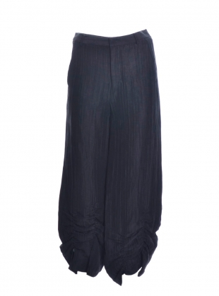 Young British Designers: BLACK LINEN & MULBERRY SILK TROUSERS - Last pair by Renli Su