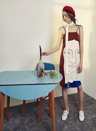Young British Designers: ME EMBROIDERED DRESS - Last one by Moon Lee Artwear