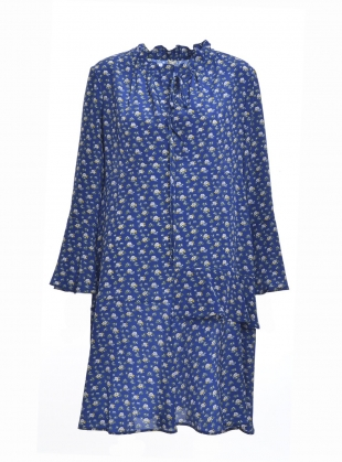 Young British Designers: KIM Dress in Ocean Blue Daisy Print by Belize