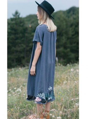 Young British Designers: Stella Embroidered Dress in Midnight - Last one by Tallulah & Hope