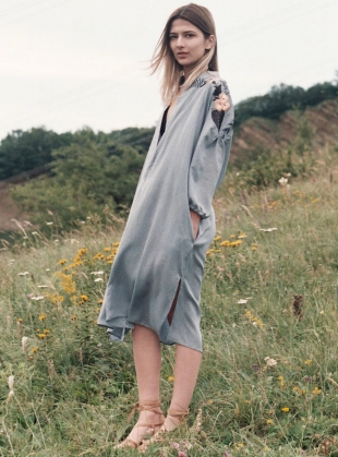 Xanthe Embroidered Shirt Dress in Dusk  by Tallulah & Hope