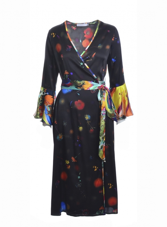 Young British Designers: NETIL Wrap Dress in Dark Floral Explosion - Last one (XS) by Klements