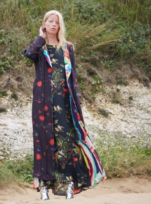 Young British Designers: Long PATTI Dress in Volcano and Magma Print - Sold out by Klements