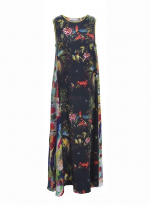 Long PATTI Dress in Volcano and Magma Print - Last one by Klements