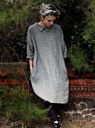 Softened Linen Reversible Dress in Moss Green - Sold out by Lemuel MC