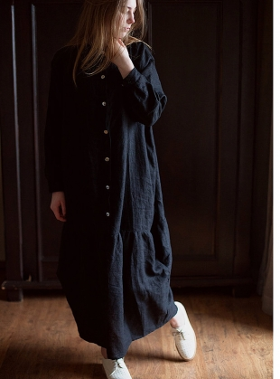 Softened Linen Oversized Reversible Dress in Black by Lemuel MC