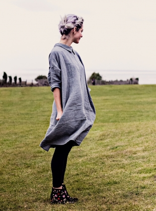 Young British Designers: Softened Linen Reversible Dress in Moss Green - Sold out by Lemuel MC