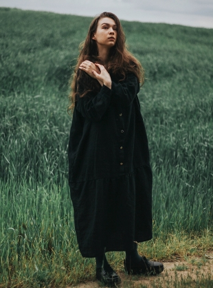 Young British Designers: Softened Linen Oversized Reversible Dress in Black by Lemuel MC