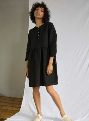 FREYA Linen Dress in Black by Beaumont Organic
