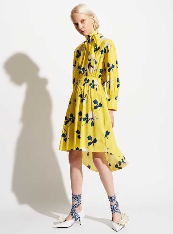 Young British Designers: YELLOW PEONAE PRINT POPLIN DRESS by Teija Eilola