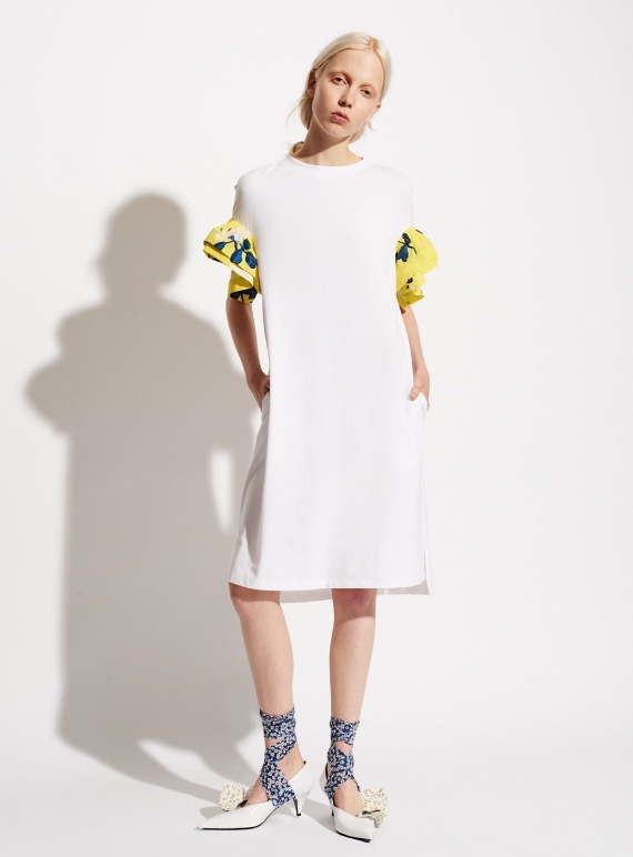Young British Designers: White Cotton T-Shirt Dress with Contrast Frill Sleeve by Teija Eilola