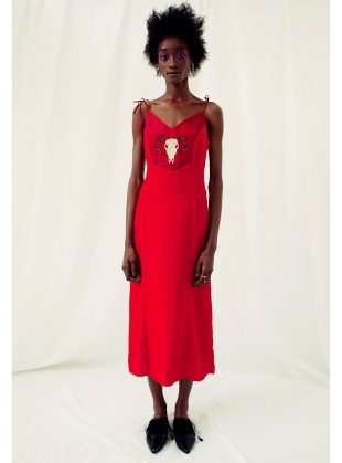 BACHANTE Red Silk Dress by Clio Peppiatt