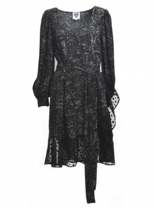 CONSTELLATION Print Bell Sleeve Dress by Clio Peppiatt