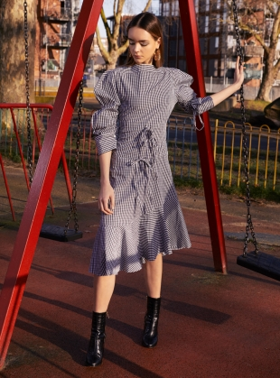 HARRIET DRESS in Black & White Gingham  by Eudon Choi