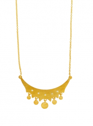 FARAINE Gold Necklace with White Sapphires by Joanna Cave