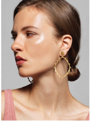 Young British Designers: LESEDI Gold Hoop Earrings with White Sapphires by Joanna Cave