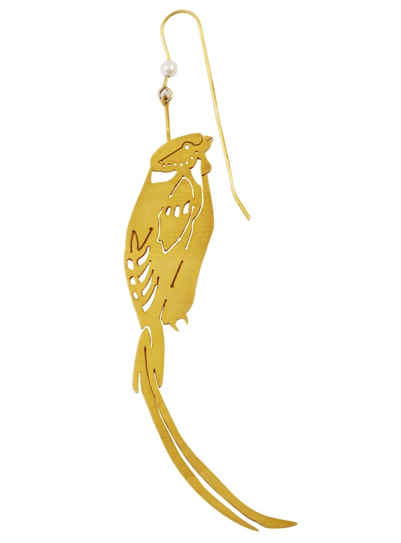 Young British Designers: VALERIE Single Gold Parrot Earring with Pearl - Last one by Joanna Cave