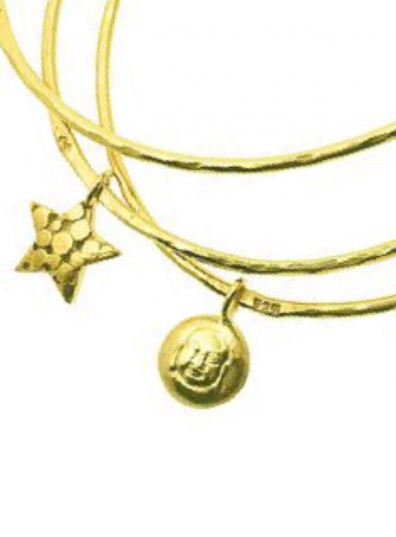 CURIO GOLD BANGLE With BUDDHA & STAR by Peculiar Vintage
