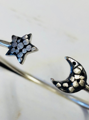 PALLENBERG SILVER STAR AND MOON CUFF by Peculiar Vintage
