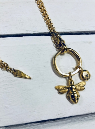 CURIO GOLD BEE & DIAMOND NUGGET NECKLACE by Peculiar Vintage
