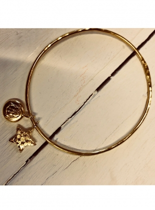 Young British Designers: CURIO GOLD BANGLE With BUDDHA & STAR by Peculiar Vintage