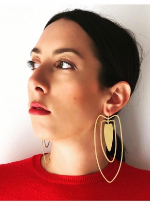 ANAIRE Earrings in Gold with White Sapphires by Joanna Cave