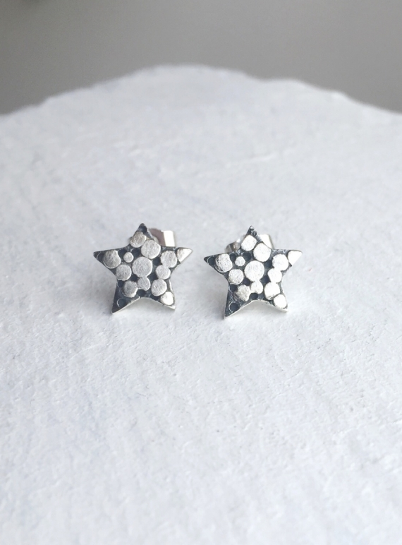 Young British Designers: PALLENBERG SILVER STAR STUD EARRINGS  by Peculiar Vintage