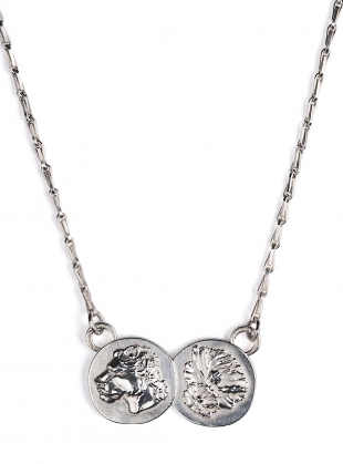 Silver Lioness Double Coin Pendant by Mikaela Lyons